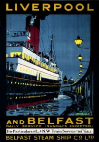 Liverpool & Belfast. Vintage Irish Shipping poster by Kenneth Shoesmith